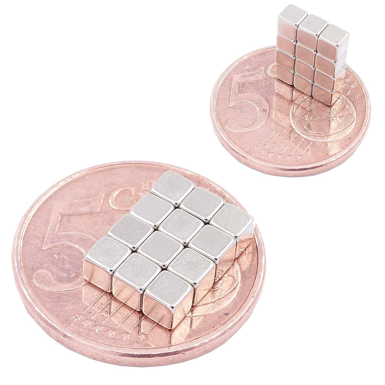 magneti per modellismo Brudazon Grado Magnetico N52 magneti in neodimio Ultra potenti 75 Mini Magneti Cubo da 5mm Piccoli ed Extra potenti