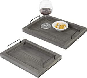 MyGift Rustic Grey Wood Nesting Serving Trays with Black Metal Handles, Set of 2