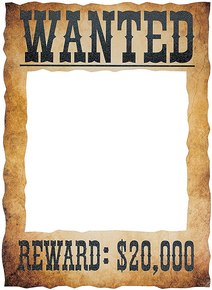 A3 Wild West Wanted Sign Poster Cowboy Photo Frame Prop Selfie Party Decoration