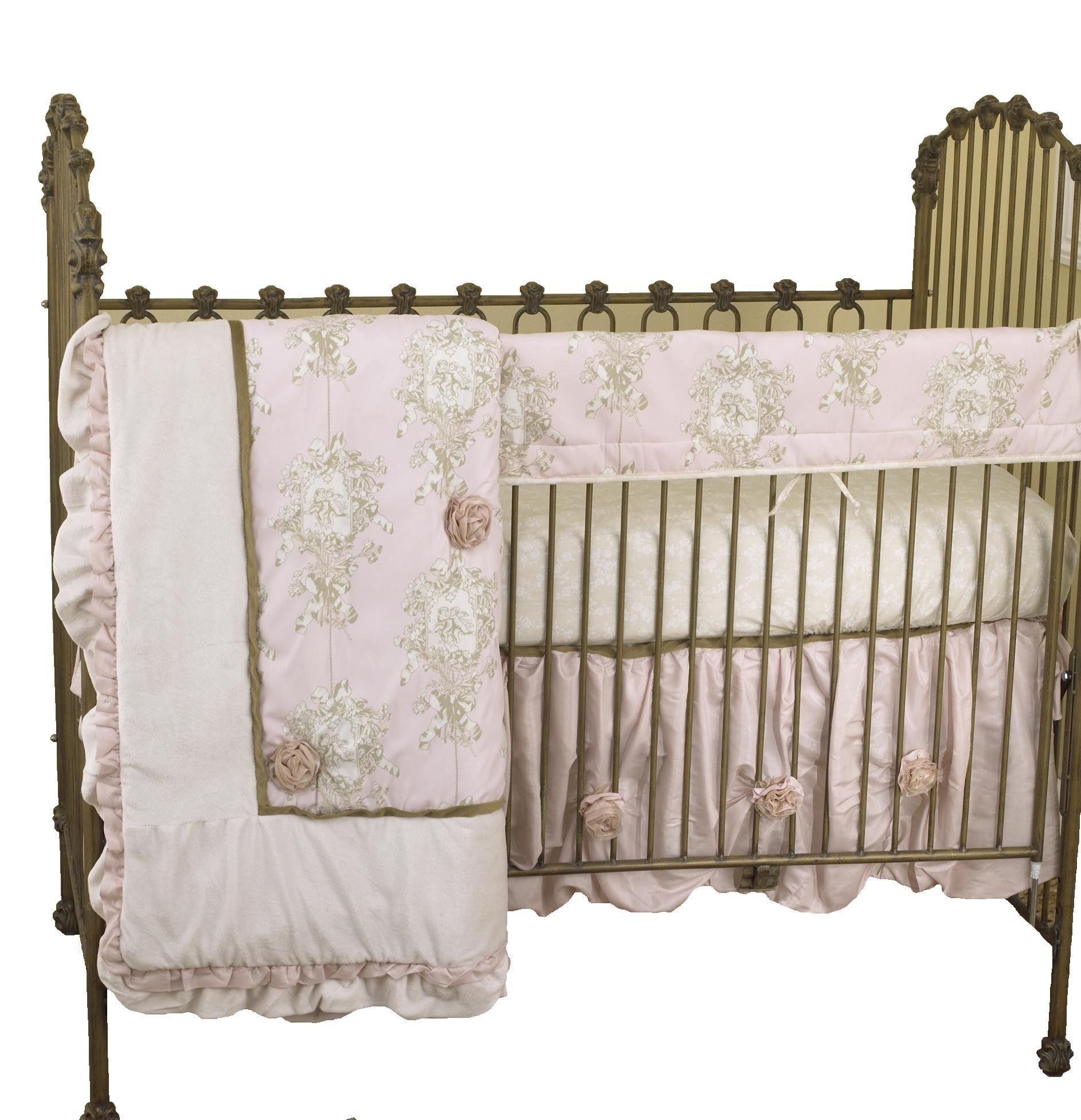 Cotton Tale Designs Front Crib Rail Cover Up Set, Lollipops & Roses