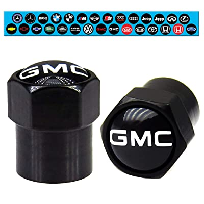 GMC Tire Valve Stem Caps Black with O-Ring Rubber Seal Brass Material Air Dust Proof Covers Universal Fit Yukon Sierra Terrain Acadia Canyon Savana (4 Pack): Automotive