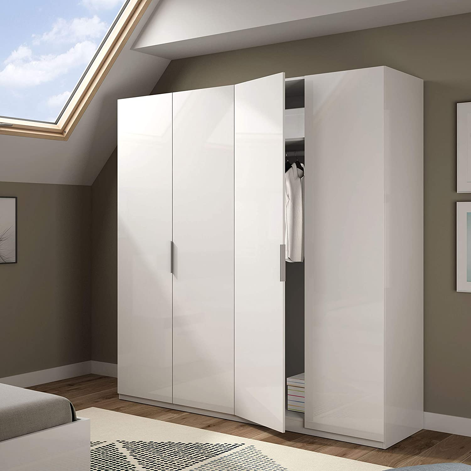 Habitdesign MAX054BO - Armario 4 puertas, color Blanco Brillo ...