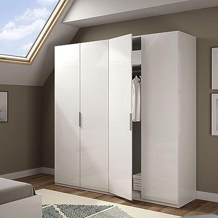 Habitdesign MAX054BO - Armario 4 puertas, color Blanco Brillo, medidas 200 x 180 x 52 cm de fondo: Amazon.es: Hogar