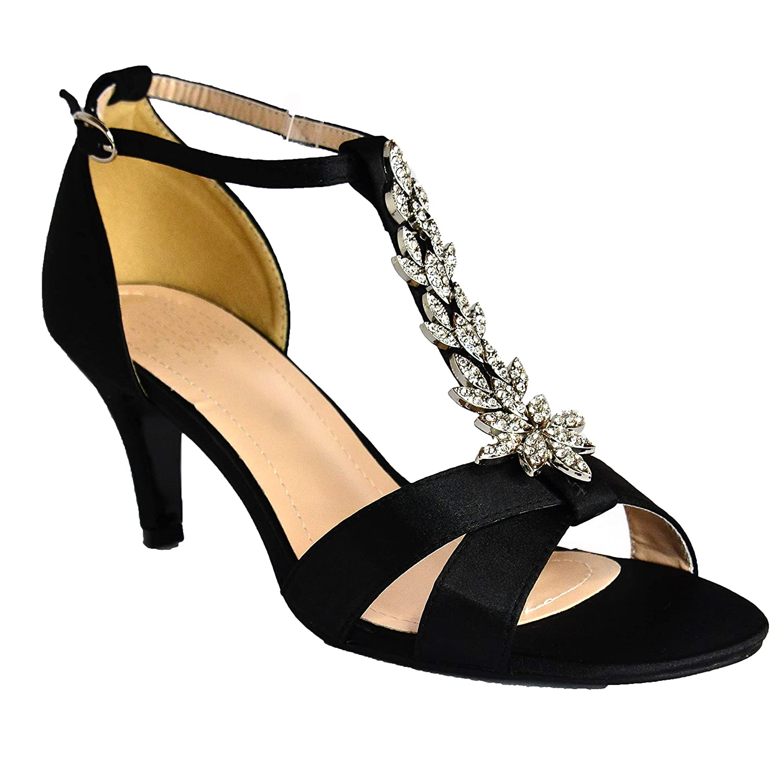 ce15e2ecc41 Absolutely Gorgeous Boutique Ladies Satin Wedding Bridal Evening Party  Diamante Mid Heel T Bar Shoes Sandals