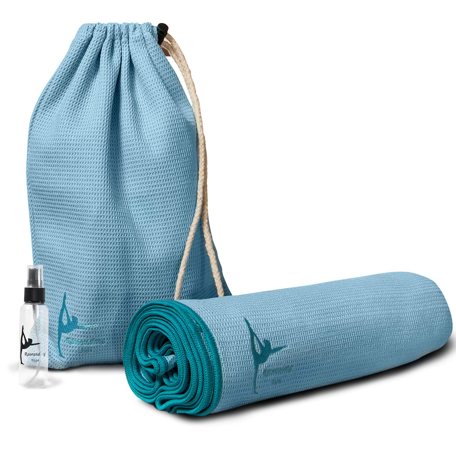 RaoRanDang Hot Yoga Towel,Yoga Mat Towel, for Women Non-Slip Silicone Bottom with Special Corner Pockets Carry Bag and Spray Bottle for Non Slip ...