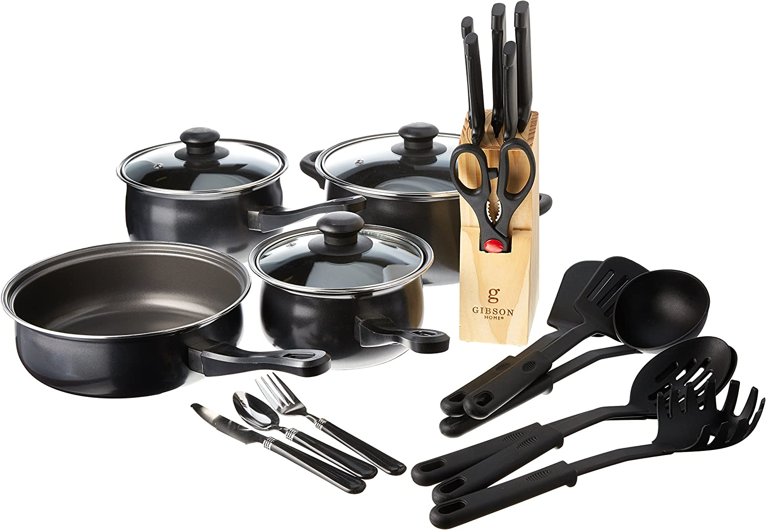 Gibson Home Back to Basics Nonstick Carbon Steel Cookware Set, 32-Piece, Black