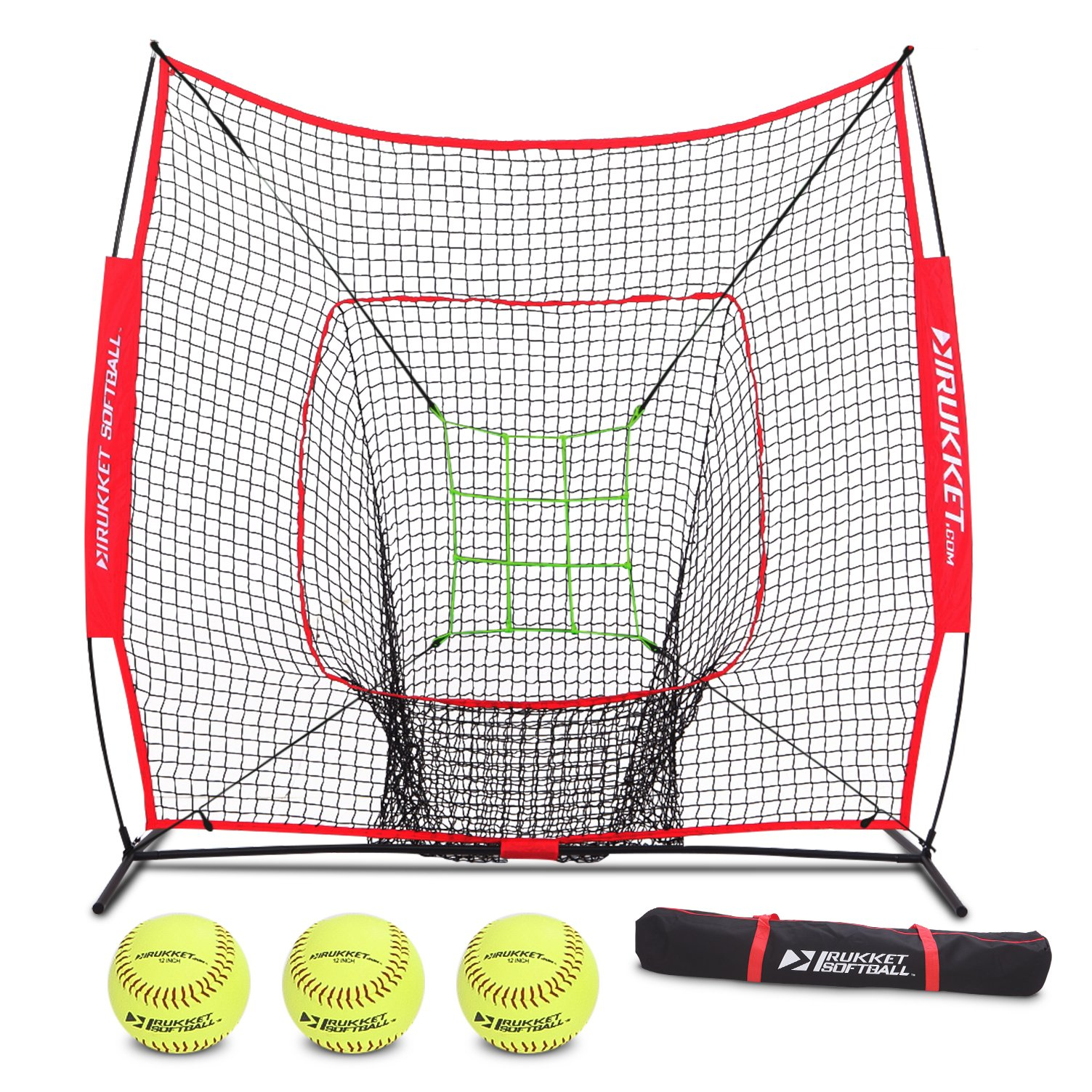 Rukket 6pc Softball Bundle | 7x7 Hitting Net | Batting, Pitching, Catching Screen | Includes Bow Frame Net, 3 Softballs, Strike Zone and Carry Bag by Rukket Sports