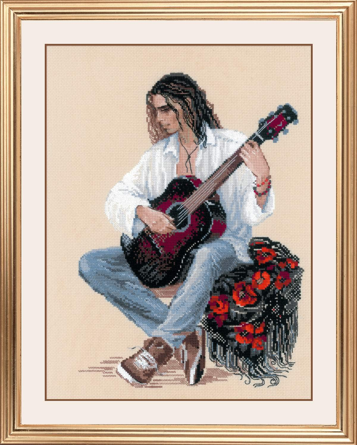 Riolis 1766 multicolor Patr/ón de punto de cruz para guitarra algod/ón, 3040 cm