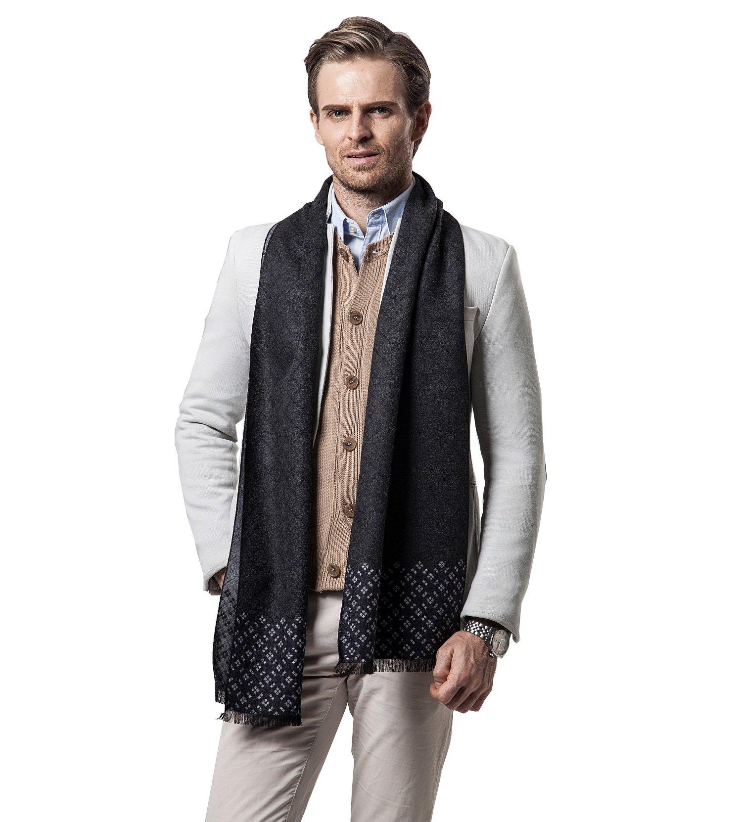 Scarf for Men,Men's Cashmere Scarf Classic Plaid Leisure Business Neckerchief (Gray)