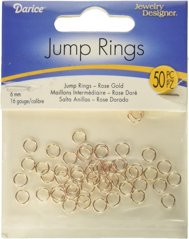 100 Rose Gold Tone 6mm Jump Rings  F477