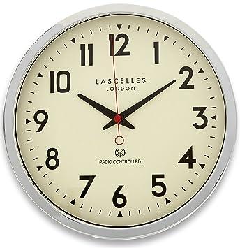 Roger Lascelles - Reloj de pared radiocontrolado, color cromado: Amazon.es: Hogar