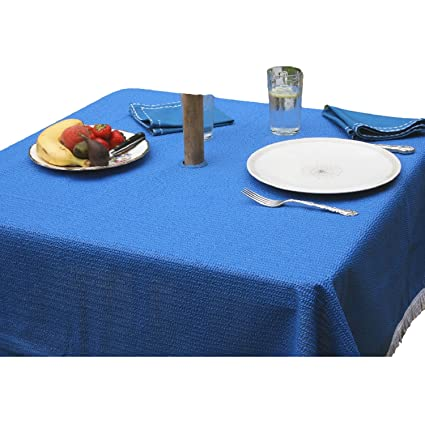 Wonderful StayPut Non Slip Square Outdoor/Patio Tablecloth With Umbrella Hole    70u0026quot; Mediterranean Blue