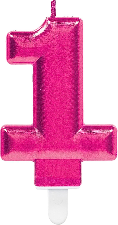 Carpeta Zahlenkerze * Zahl 1 * in PINK mit Steckfuß | ca. 10cm x 6cm groß | Deko 1. Geburtstag Geburtstagskerze Kerze