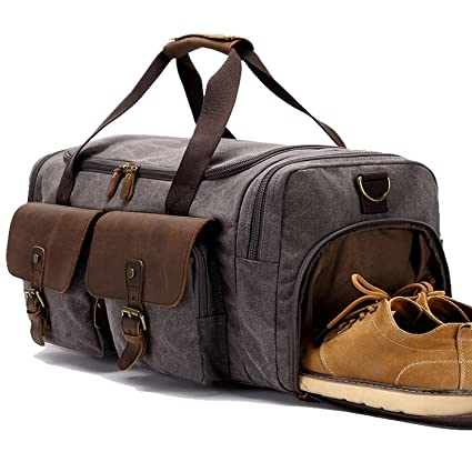 BLUBOON Canvas Holdall Weekend Weekender Travel Duffle Bag with Shoe  Compartment Leather Overnight Carry on Lugguge for Men and Women - Grey   Amazon.in  ... fd3f297ebf751