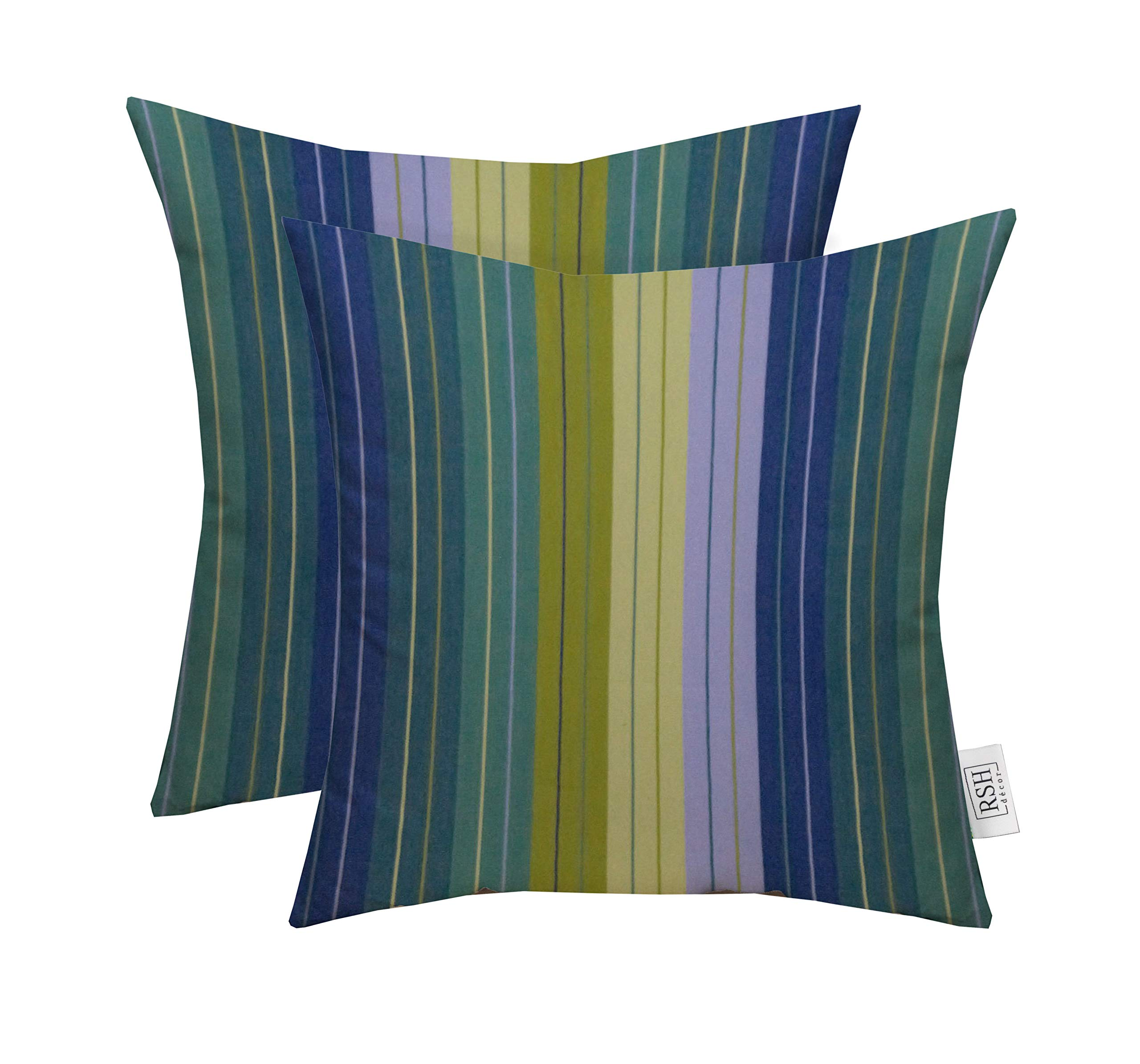 RSH Décor Set of 2 Indoor Outdoor Decorative Square Throw Pillows Made of Sunbrella Seville Seaside (20'' x 20'')