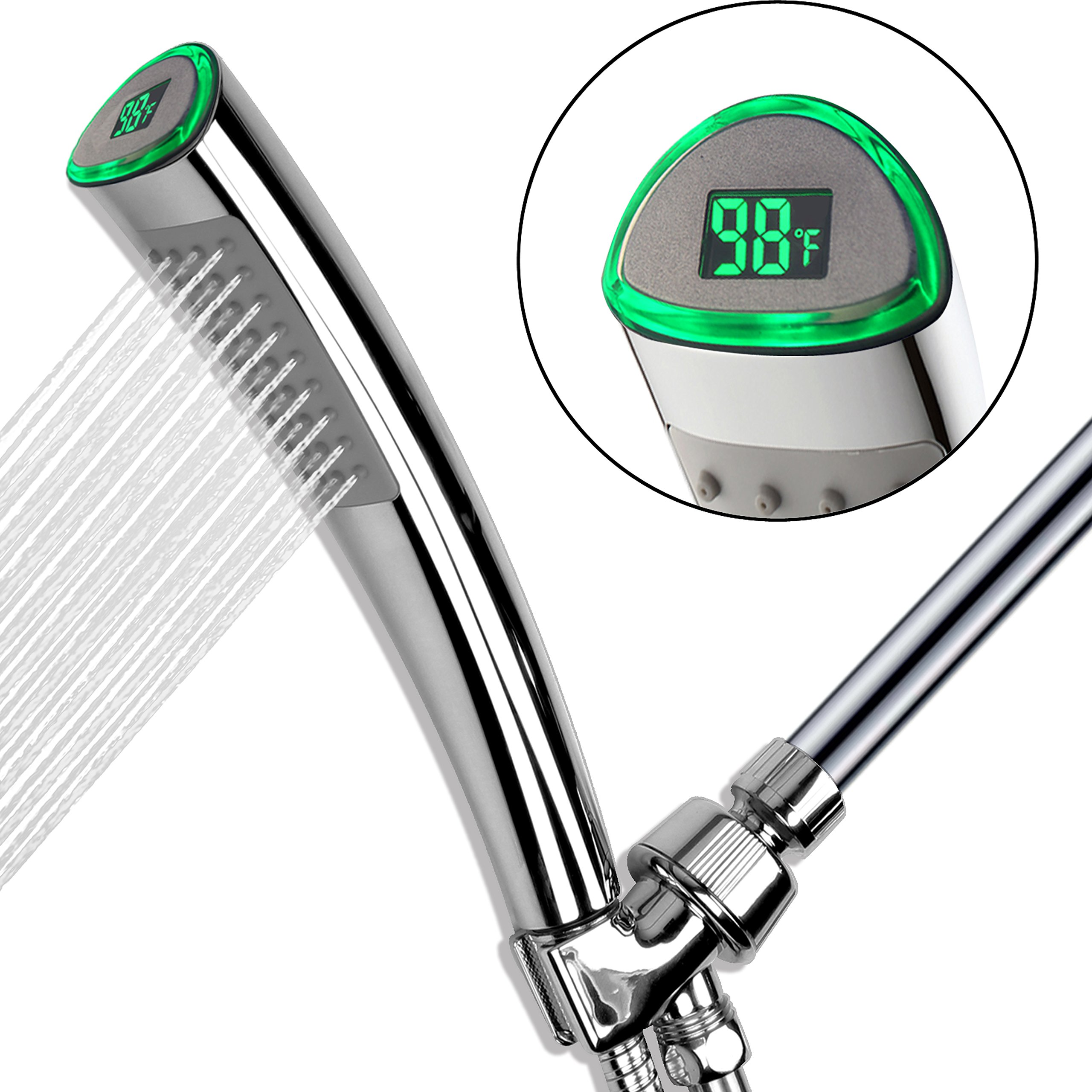 YOO.MEE LED Thermometer Handheld Shower Heads, Water Powered Light ...