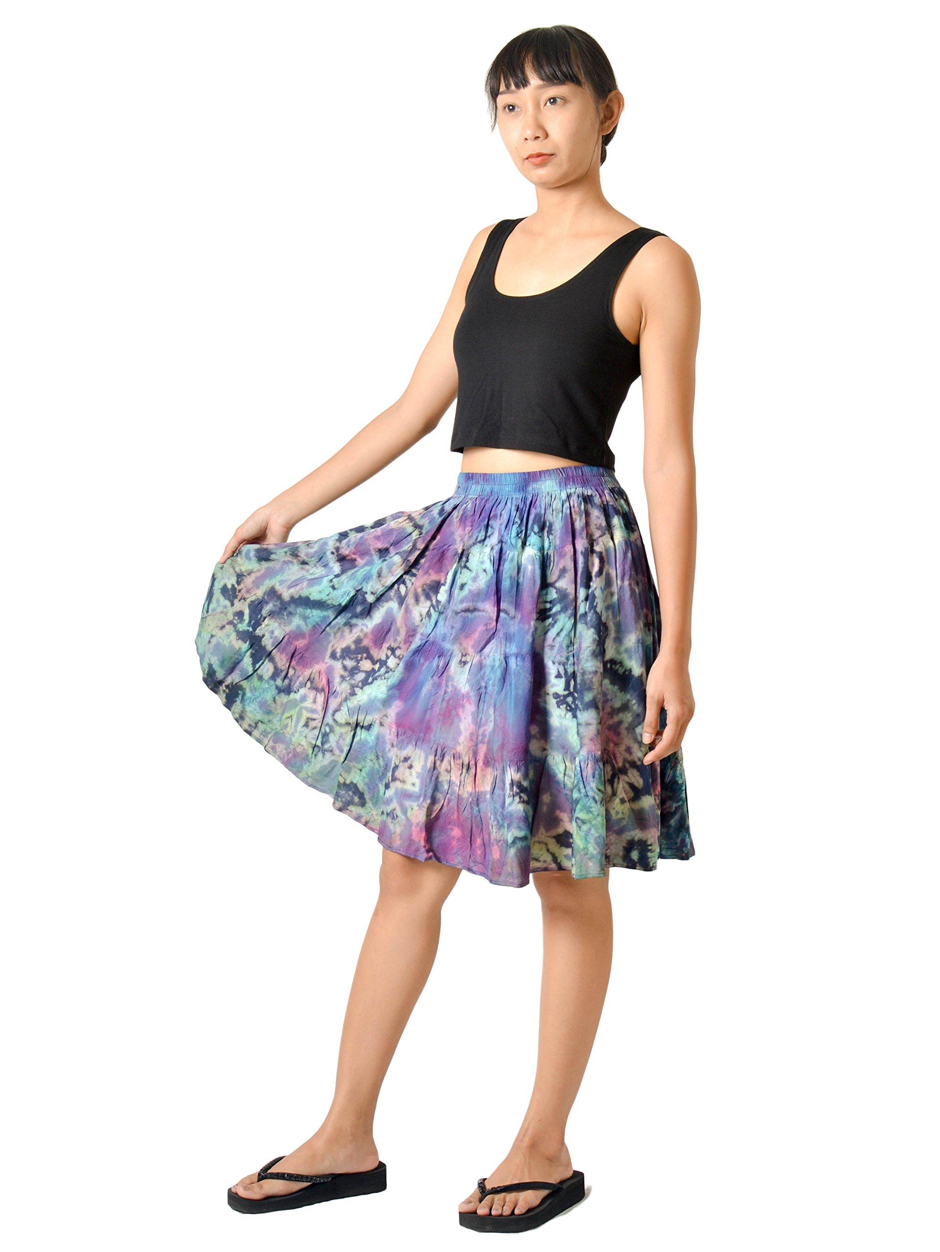 Orient Trail Women's Hippie Bohemian Boho Tie Dye Knee Length Midi Mini Maxi Skirt Small Earth Blue