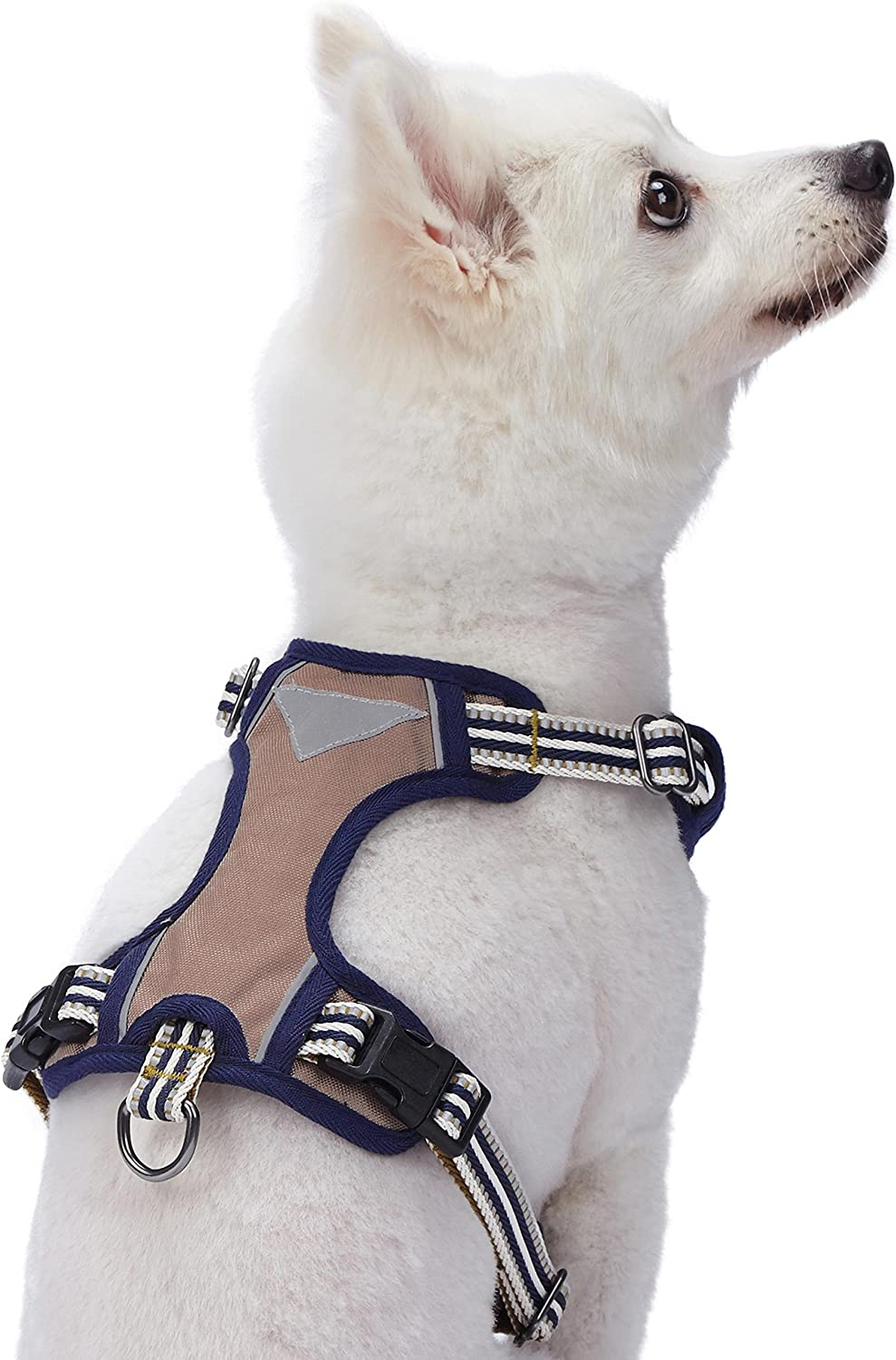 Mesh Harnesses for Dogs Small Chest Girth 45cm-54cm Neck 37cm-52cm Blueberry Pet Soft /& Comfy 3M Reflective Multi-colored Stripe Padded Dog Harness Vest Olive /& Blue-gray