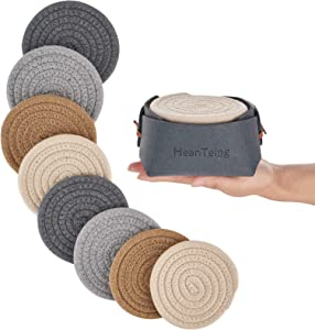 Absorbent Coasters for Drinks with Holder 8 Piece,Funny Handmade Woven Cloth Drink Coaster Set,Cute Round Pure Cotton Thread Braided Farmhouse Cup Mat,Desk Heat-Resistant Cup Coasters for Wooden Table