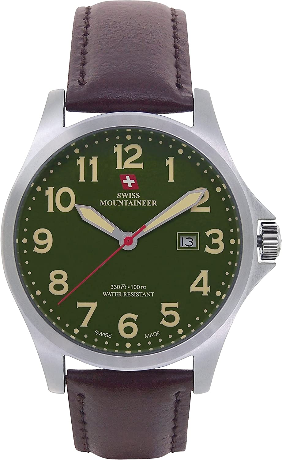 Swiss Mountaineer Mens Swiss Watch Brown Leather Band Large Green Easy Read Dial Date Display SML8032