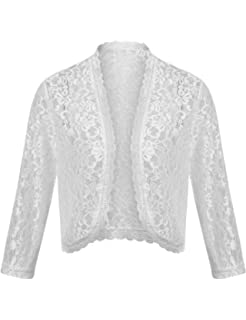 518a81f95a6 Dealwell Women s Floral Lace Cropped Shrug Bolero 3 4 Sleeve Open Front  Cardigan