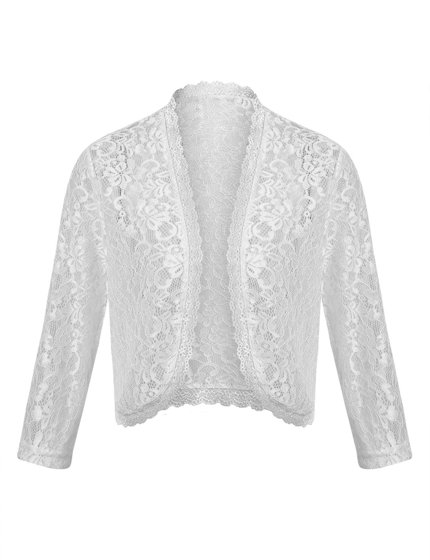 Dealwell Women Elegant Bolero Shrug Long Sleeve Lace Crochet Open Front Cardigan for Dresses (White, XL)