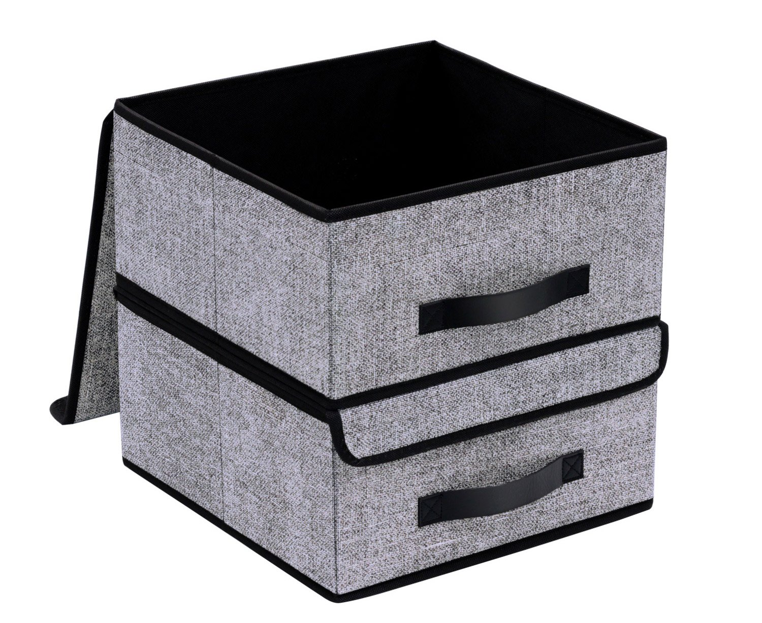 Onlyeasy Foldable Storage Bins Cubes Boxes with Lid - Storage Box Cube Basket Closet Organizer Pack of Two with Leather Handles for Closet Bedroom, 13''x13'', Black, 8MXALB2P