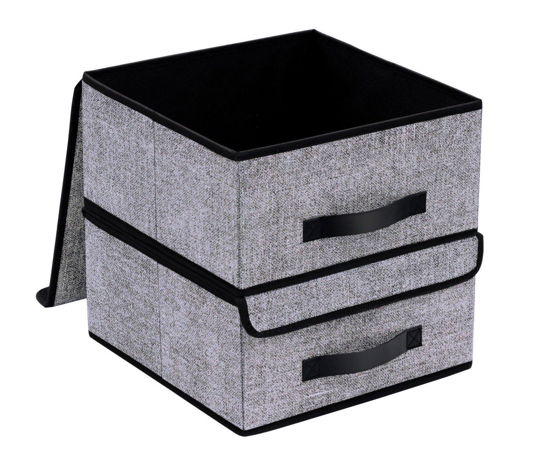 large storage boxes 4 pack ezoware large linen fabric foldable storage cubes bin. Black Bedroom Furniture Sets. Home Design Ideas