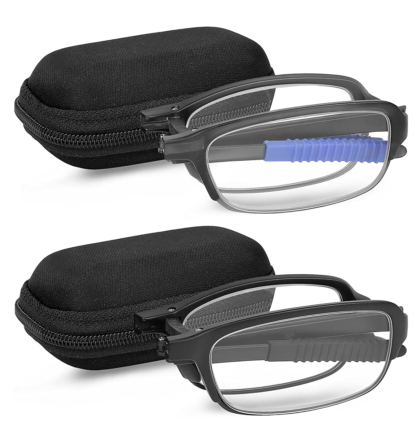 Reading Glasses 2 Pair Fashion Folding Readers with Cases Unisex Glasses for Reading for Men and Women