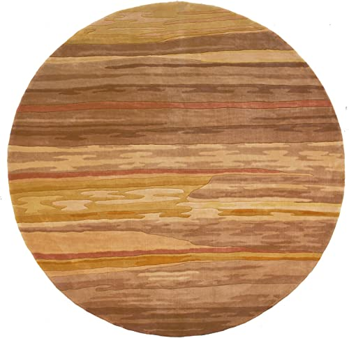 Momeni Rugs New Wave Collection, 100 Wool Hand Carved Tufted Contemporary Area Rug, 5 9 Round, Sand
