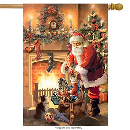 santa by the fireplace christmas house flag tree stockings toy sack 28