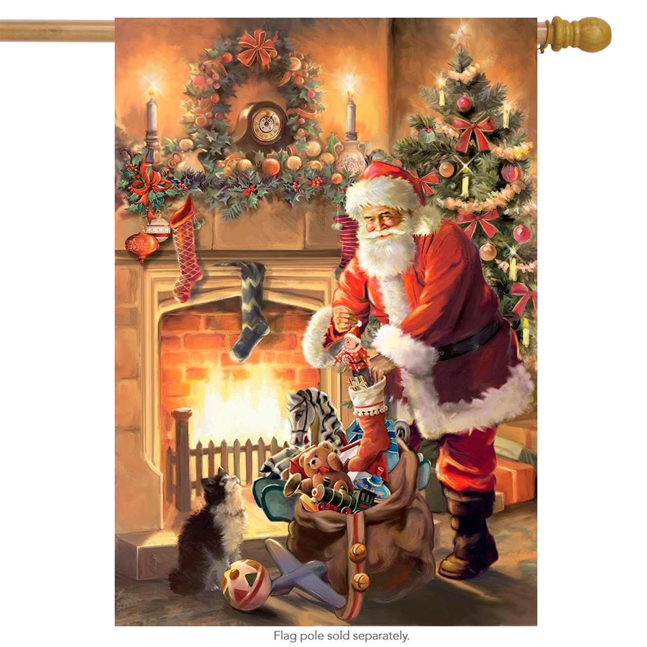 Santa By The Fireplace Christmas House Flag Tree Stockings Toy Sack 28'' X 40''
