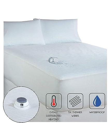 Serta 233-Thread Count - Colchón Calefactor eléctrico de bajo Voltaje, Color Blanco,
