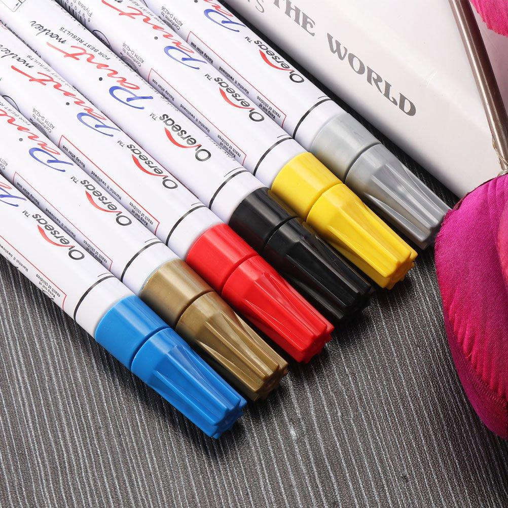 ONEVER Colorful impermeabile penna gomma del pneumatico dellautomobile Cd metallico marcatori vernice permanente Graffiti oleoso pennarello Car Styling oro