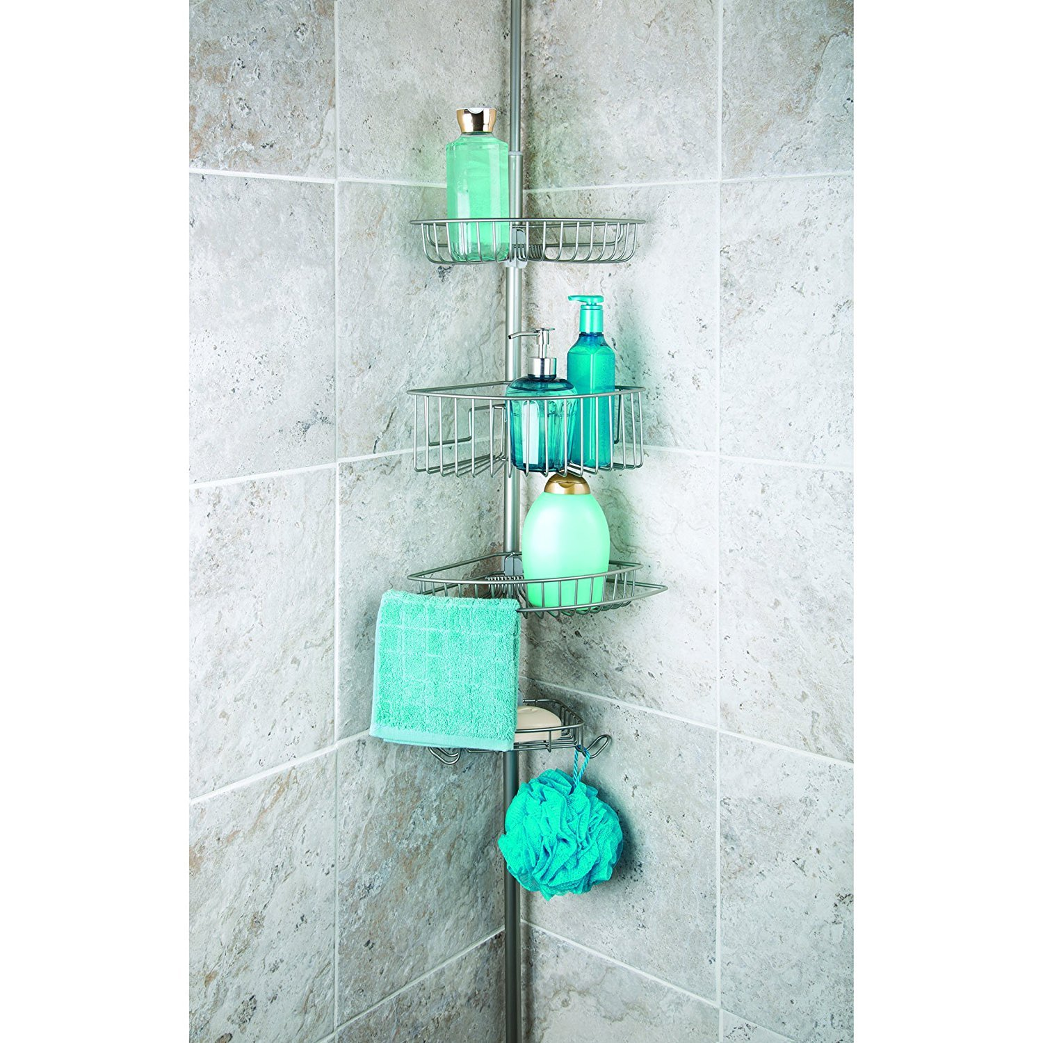 Amazon.com: Richards Homewares Bathtub Shower 4 Tier Tension Corner ...