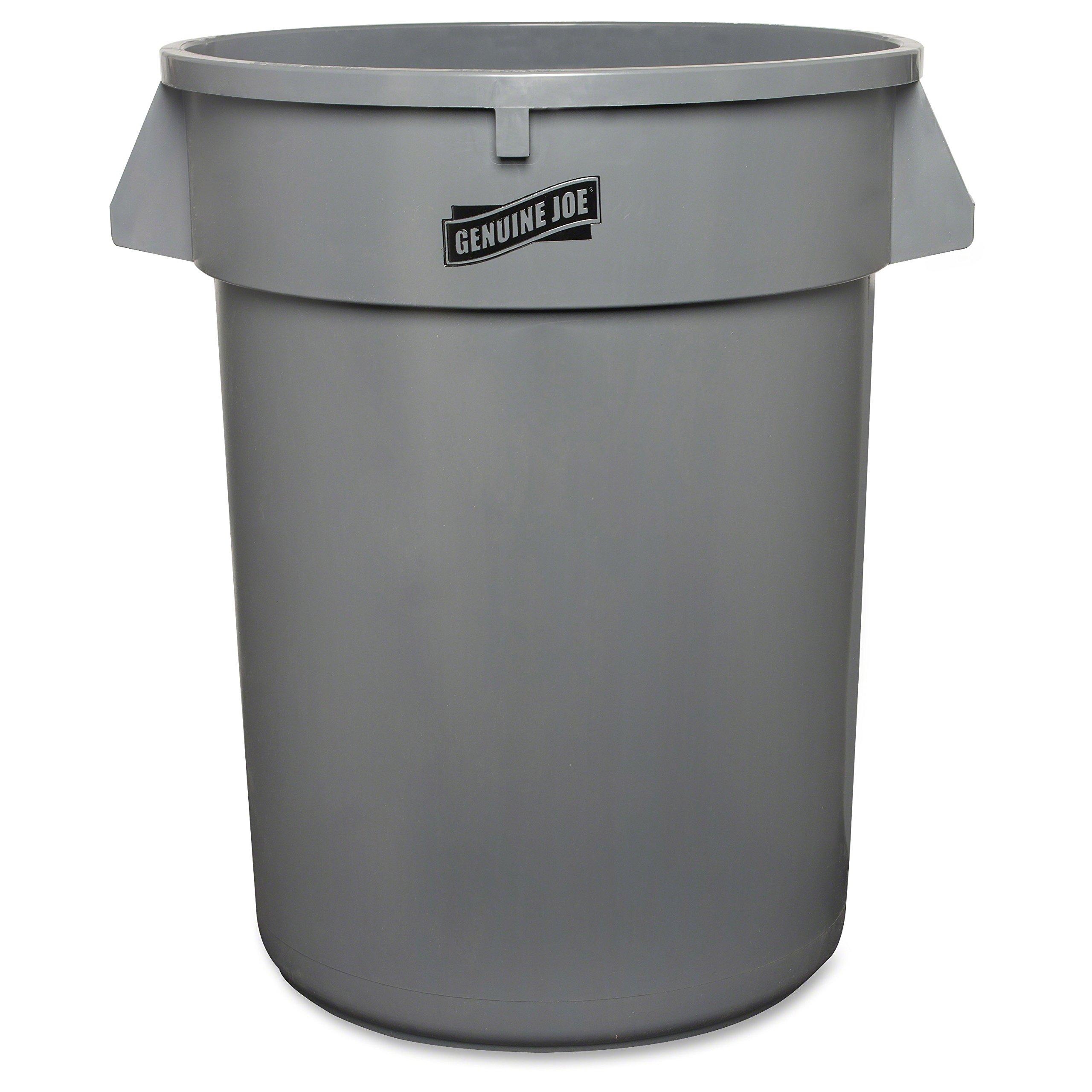 Genuine Joe GJO60463CT Heavy-Duty Trash Container, Plastic, 32 gal Capacity, Gray (Pack of 6)