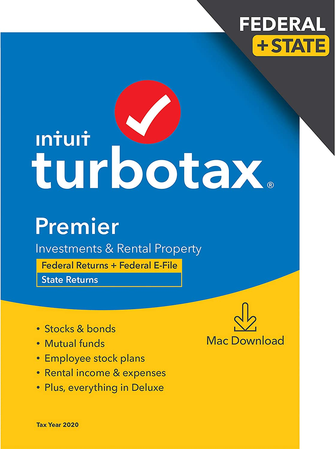 TurboTax Premier 2020 Desktop Tax Software, Federal and State Returns + Federal E-file (State E-file Additional) [Amazon Exclusive] [MAC Download]
