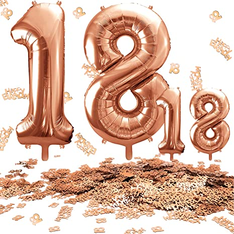 Juland Rose Gold Number 18 Balloons Large Foil Mylar Balloons 40 Inch Giant Jumbo Number Balloons for 18th Birthday Party Decorations