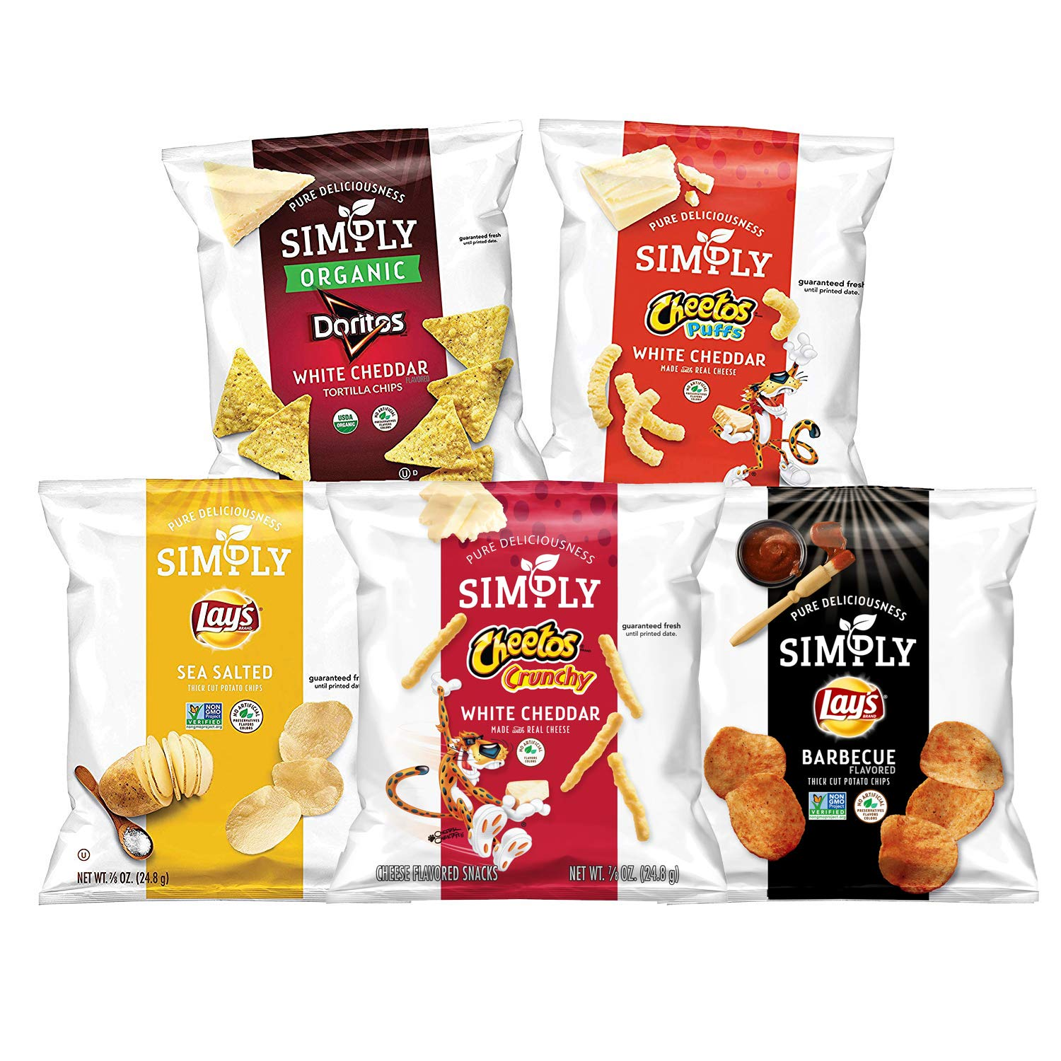 Simply Brand Organic Doritos Tortilla Chips, Cheetos Puffs, 36 Count by Simply