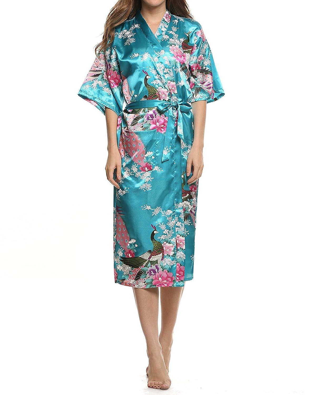 Plumsika Womens Robes Peacock Kimono Silk Nightwear Long Style