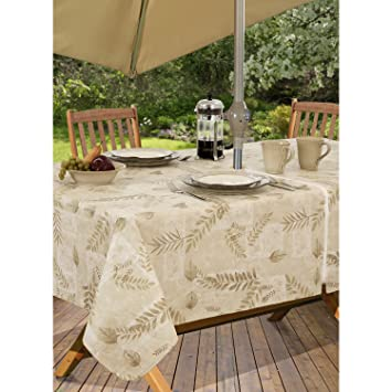 Boxed Fern Flannel Backed Vinyl Tablecloth Indoor Outdoor, 60 Inch By 84  Inch