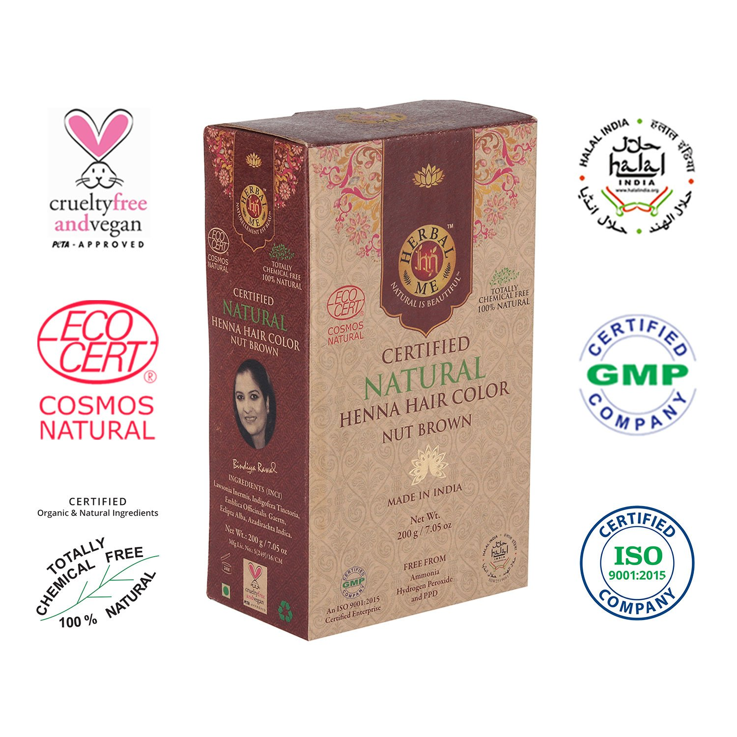 Herbal Me - Nut Brown Henna Hair Color 7.05 oz,CERTIFIED 100% Natural by Ecocert (France).VEGAN & HALAL approved, Zero chemicals by HERBAL ME