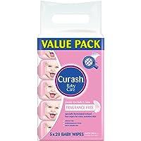 Curash Fragrance Free Travel Pack Baby Wipes 5X20PK
