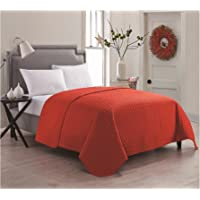 VCNY Home Jackson Luxurious Microfiber Embossed Quilted Coverlet / Bedspread with Geometric Design Red Full /  Queen