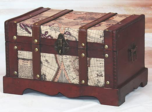 Vintiquewise QI003037.L Old World Map Wooden Trunk, Large Chest Only Only, Cherry