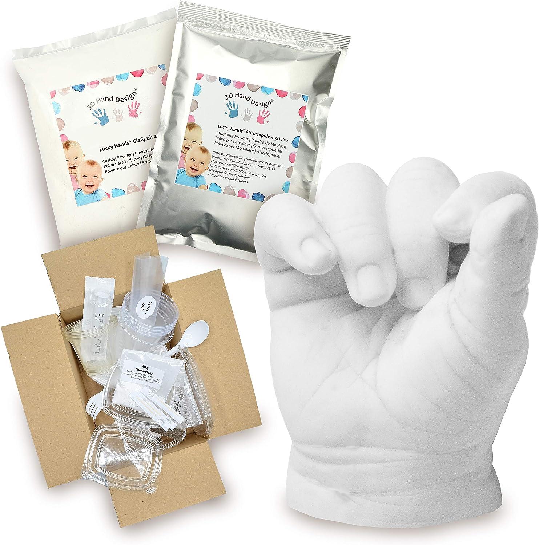 Lucky Hands® Huellas en 3D   Improntas Mano   Idea de Regalo para el Día de la Madre (0-6 Meses   con Accesorios, 4-6 moldes)