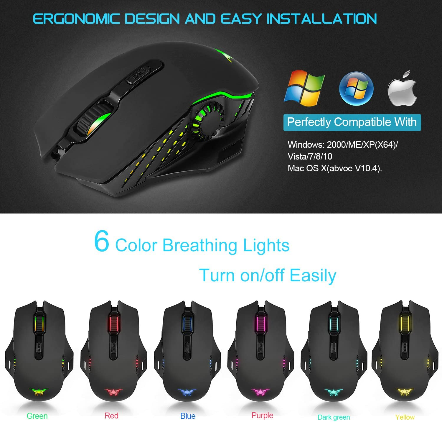 Wireless Mouse-Combatwing Wired Gaming Mouse Rechargeable Ergonomic Esports Gaming Mouse Lag-Free Optical PC Gaming Mice with 6 RGB Breathing and 6000 DPI 5 Level Adjustable