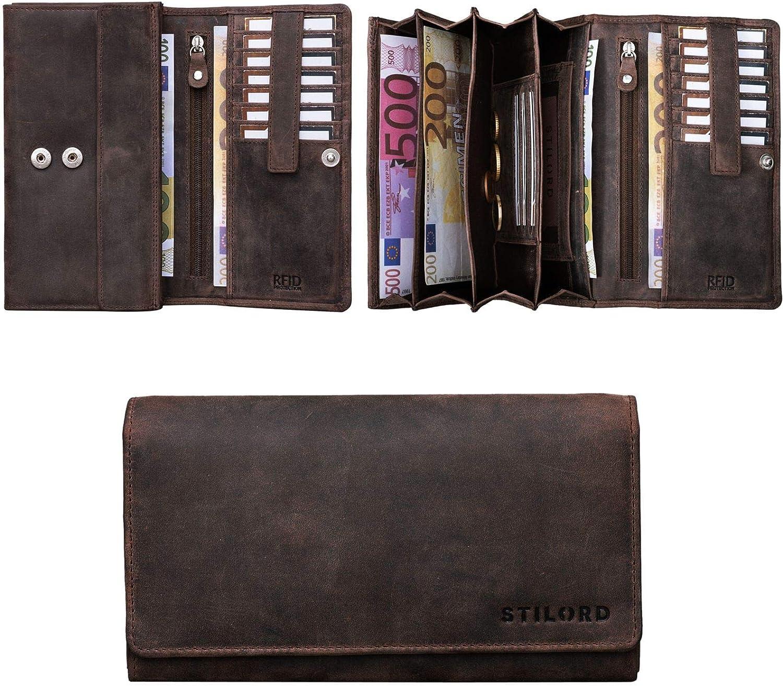 grigio STILORD Lorena Portafoglio Donna Vintage in Cuoio con Blocco RFID e NFC Portamonete Borsellino Grande Pelle Colore:grafite