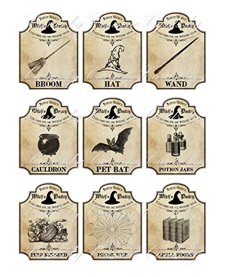 photograph about Harry Potter Apothecary Labels Free Printable named : Halloween Apothecary 9 Bottle Jar Labels Potion