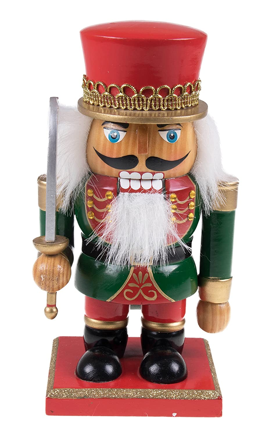 Hanse Design Manufacturing Chubby Soldier Nutcracker Decoration Figure With Crown, Boots, & Sword - 7.25